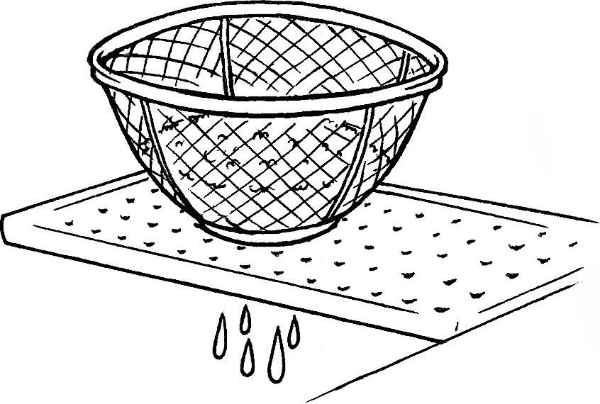 お米の水を切る
